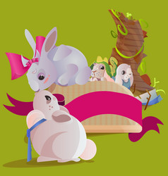 set easter chocolate egg hunt bunny basket on vector image