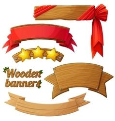 set light wooden banners 2 vector image