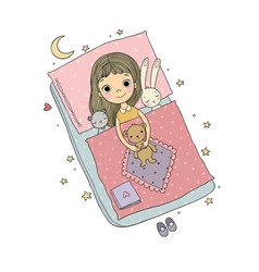 sleeping girl baby in bed with toys time vector image