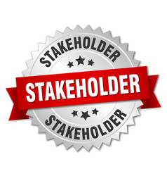 stakeholder round isolated silver badge vector image