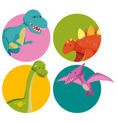 sticker designs with cute dinosaurs vector image