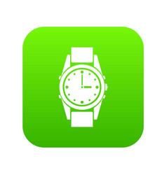 Swiss watch icon digital green vector