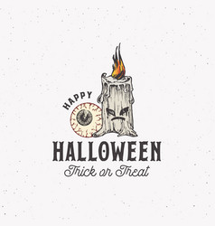 trick or treat vintage style halloween logo or vector image