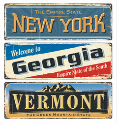 us all states retro souvenirs old paper poster vector image