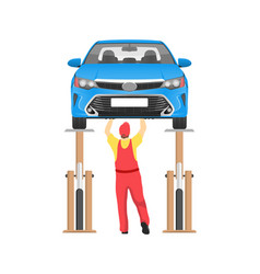 Vehicle on inspection in auto service card vector
