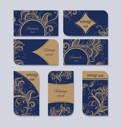 vintage card set vector image