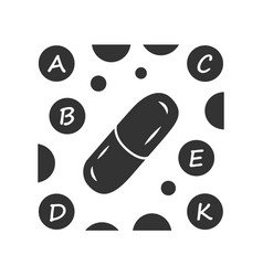 Vitamin pills glyph icon a b c d e k multi vector