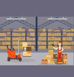warehouse indoor space with goods on shelf vector image