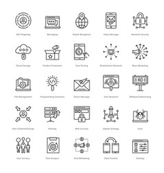 Web and seo line icons 55 vector