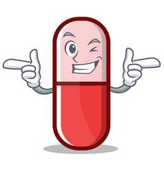 Wink pill capsule cartoon character vector