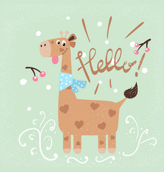 winter and snow giraffe characters vector image