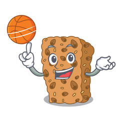With basketball granola bar character cartoon vector