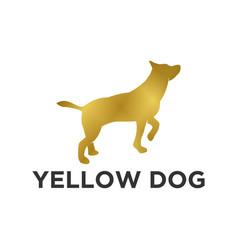 Yellow dog gold logo design animal logo pet shop vector