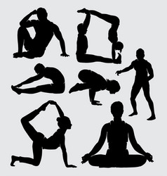 Yoga training sport male and female silhouette vector