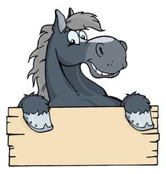 cartoon horse label vector image