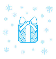christmas present box and snowflakes vector image