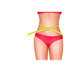 Female body with measuring tape Diet concept vector image vector image