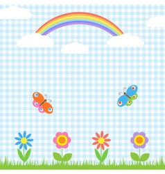 Flowers butterflies and rainbow vector image vector image