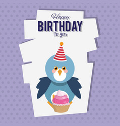 happy birthday bird cartoon card vector image