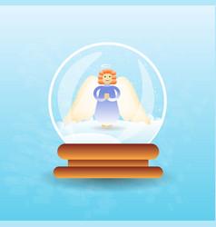 magic ball with christmas angel inside vector image