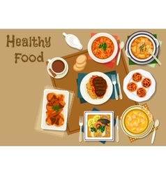 Portuguese dinner dishes icon for healthy food vector image vector image