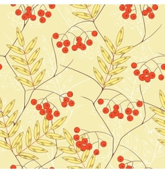 Seamless background with rowanberry and leaves vector image vector image