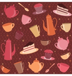 Seamless pattern with tea and coffee items vector image vector image