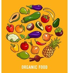 Set of organic food vector image vector image