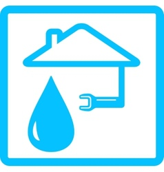 water icon with drop and wrench vector image vector image