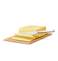 3d realistic butter slices with knife vector image