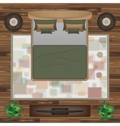 Bed Pillows Carpet Pouf Plants vector image vector image