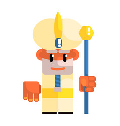 cartoon dwarf in the turban with staff in his vector image vector image