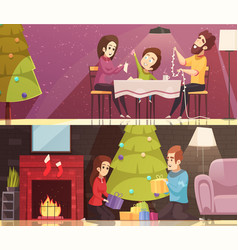 christmas cartoon banners set vector image vector image