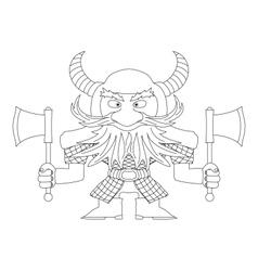 Dwarf warrior contour vector image vector image