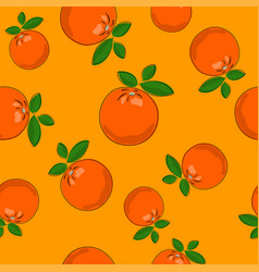 seamless pattern orange on yellow background vector image vector image