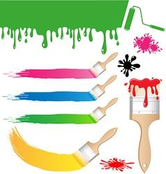 Set of Paint brush on white background vector image