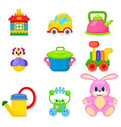 soft and plastic toys for kids set vector image vector image