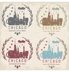 chicago beer festival vintage grunge emblems set vector image