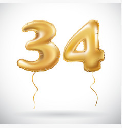 golden 34 number thirty four metallic balloon vector image