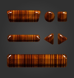 Set of wooden button for game design-2 vector image