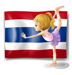A ballet dancer in front of the Thailand flag vector image vector image
