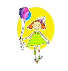 Cute little girl running with balloons vector image