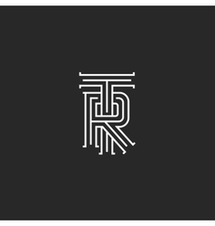 Retro TR logo monogram overlapping thin line vector image vector image