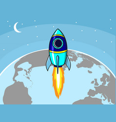 rocket and earth vector image