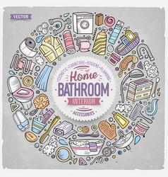 set of bathroom cartoon doodle objects vector image