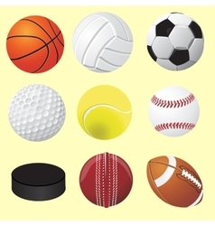 Set of sport balls realistic vector image