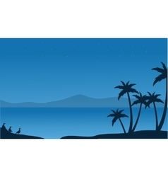 Silhouette of beach with mountain backgrounds vector image vector image