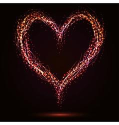 Sparkling heart shape on dark background vector image