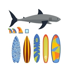 surfing boards and shark vector image vector image