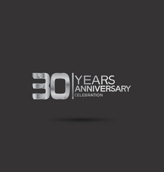 30 years anniversary logotype with silver color vector